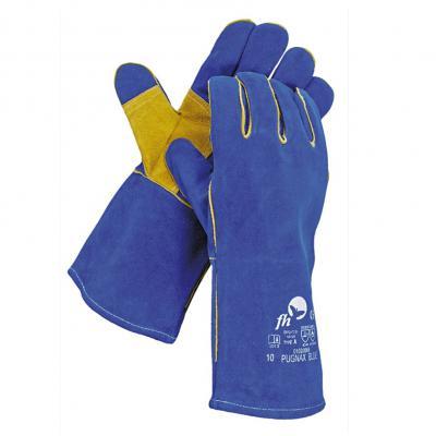 Lederen lashandschoenen blauw